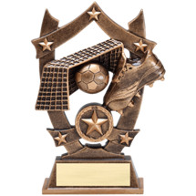 "Soccer Trophy - 6 1/4"" Antique Gold Tone Resin Soccer Trophy"