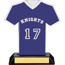 "7"" Blue Team Name and Number Jersey Shirt Trophy"