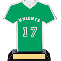 "7"" Green Team Name and Number Jersey Shirt Trophy"