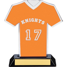 "7"" Orange Team Name and Number Jersey Shirt Trophy"