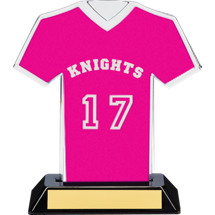 "7"" Pink Team Name and Number Jersey Shirt Trophy"
