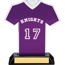 "7"" Purple Team Name and Number Jersey Shirt Trophy"