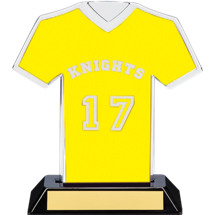 "7"" Yellow Team Name and Number Jersey Shirt Trophy"