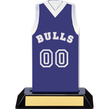 "7 1/2"" Blue Team Name and Number Sleeveless Jersey Trophy"