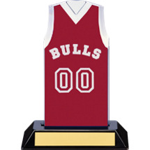 "7 1/2"" Maroon Team Name and Number Sleeveless Jersey Trophy"