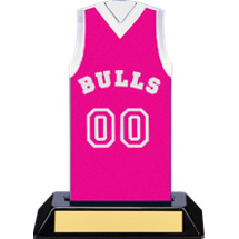 "7 1/2"" Pink Team Name and Number Sleeveless Jersey Trophy"