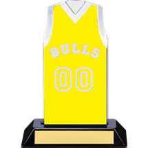 "7 1/2"" Yellow Team Name and Number Sleeveless Jersey Trophy"