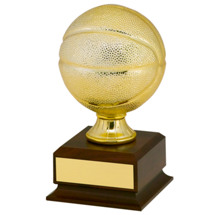 "7 3/4"" Gold Finish Mini Basketball Trophy"