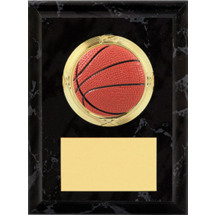 "Basketball Plaque - 4 x 6"" Black Basketball Plaque"