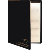 "9 1/2 x 12"" Personalized Black Leatherette Portfolio with Notepad"