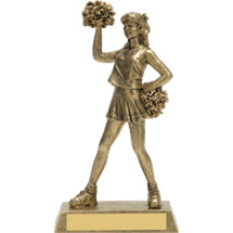 "8"" Female Cheer Gold-Tone Resin Trophy"