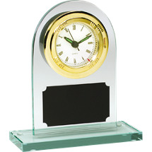 "6 1/4 x 7 1/4"" Rounded Acrylic Deskset w/Quartz Clock"