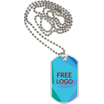 "1 1/8 x 2"" Free Logo Sports Tag with 24"" Neck Chain"
