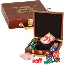 "7 1/2 x 8 1/4"" Personalized Rosewood Poker Set"