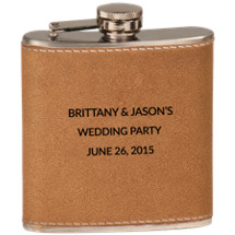 6 Ounce Personalized Leather-Wrapped Stainless Steel Flask