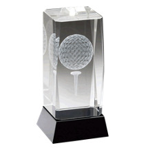 "2 1/2 x 4 3/4"" Optical Crystal Golfball and Tee Trophy with Black Plate"