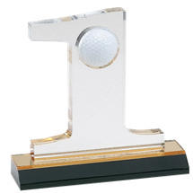 "7 1/2"" Lucite Golf Display Trophy with Black Plate"