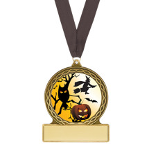 "Halloween Medal - ""Haunted Night"" Halloween Medal with Free Black Neck Ribbon"