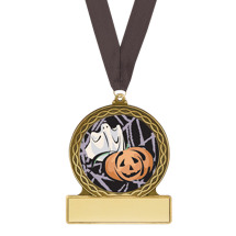 "Halloween Medal - ""Trick or Treat Ghost"" Halloween Medal with Free Black Neck Ribbon"