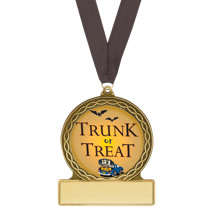 "2 3/4"" Trunk or Treat Halloween Medal with Free Black Neck Ribbon"