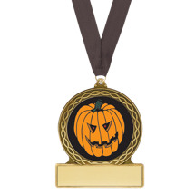 "2 3/4"" Pumpkin Halloween Medal with Free Neck Ribbon"