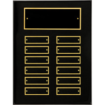 "9 x 12"" Black High Gloss Perpetual Plaque - 12 Nameplates"