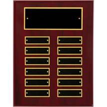 "9 x 12"" Ruby High Gloss Perpetual Plaque - 12 Nameplates"