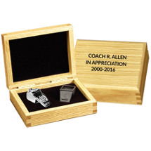 "4 1/2 x 3 1/2 x 1 3/4"" Silver Coach Whistle in Personalized Box"
