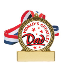 World's Greatest Dad Medal with Ribbon