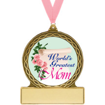 2 3/4 World's Greatest Mom Medal with Ribbon