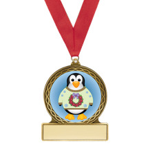 "2 3/4"" Penguin Medal with Red Ribbon"