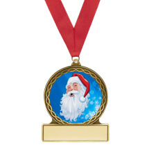 "2 3/4"" Santa Medal with Red Ribbon"