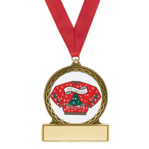 "2 3/4"" Ugly Christmas Sweater Medal with Red Ribbon"