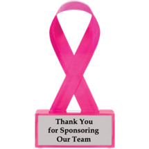 "6 1/2"" Pink Ribbon Acrylic Award"