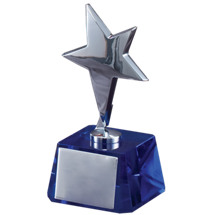 "3 x 6"" Silver Metal Star Trophy"