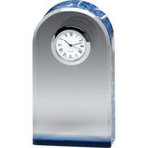 "2 3/4 x 5 1/8"" Rounded Glass Award with Clock"
