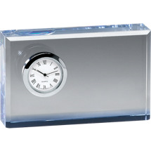 "DINN DEAL! 4 3/4 x 3"" Rectangular Glass Award with Clock"