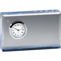 """DINN DEAL! 4 3/4 x 3"""" Rectangular Glass Award with Clock"""
