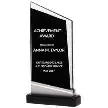 Glass Angled Stand-Up Award - 4 3/4 x 8 7/8""