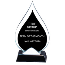 "4 1/2 x 8 1/2"" Teardrop-Shaped Ebony Glass Achievement Award"