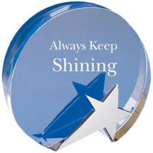 """6 1/4 x 5 3/4"""" Round Glass Star Award"""