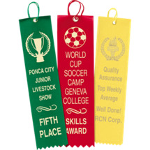 "1 5/8 x 6 - 2 1/2 x 10"" Custom Printed Straight Ribbons"