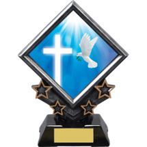 "7"" Religious Diamond Emblem Resin Award"