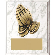 "Large 8 x 10"" White Marble-tone Plaque with Praying Hands"
