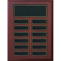 "9 x 12"" Rosewood  Plaque - 12 Nameplates"