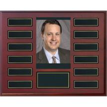 "10 1/2 x 13"" Rosewood Plaque - 12 Nameplates & Photo"