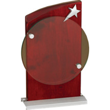 "5 1/2 x 9"" Rosewood Finish Star Plaque"