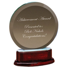 "6 3/4 x 7"" Round Glass Award with Rosewood Finish Base"