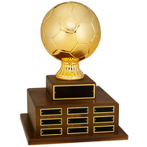 "Soccer Trophy - 17 1/2"" Official Size Soccer Ball Perpetual Award"