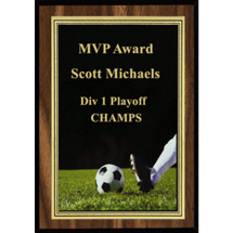 "5 x 7"" Soccer Plaque with Soccer Ball Image"